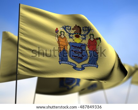 flags of New Jersey on blue sky background