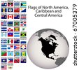 Flags of North America, Carribean and Central America, the complete set - stock photo