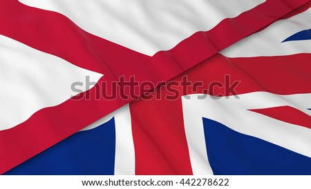 Flags of Northern Ireland and the United Kingdom - Split Northern Irish Flag and British Flag 3D Illustration