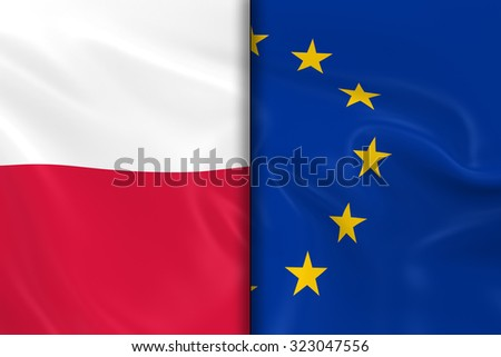 Flags of Poland and the European Union Split Down the Middle - 3D Render of the Polish Flag and EU Flag with Silky Texture - stock photo