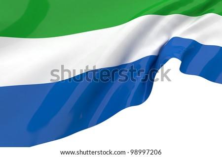 Flags of Sierra Leone - stock photo