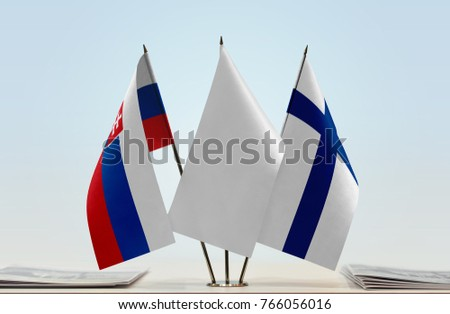 Flags of Slovakia and Finland with a white flag in the middle