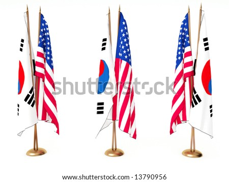 flags of South Korea and the United State isolated white