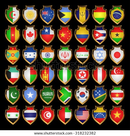 Flags of the countries of the North America, the South America, Asia and Africa. Flags in the form of badges. - stock photo