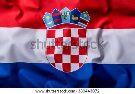 Flags of the Croatia and the European Union. Croatia Flag and EU Flag. World flag money concept. - stock photo