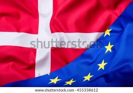 Flags of the Denmark and the European Union. Denmark Flag and EU Flag. World flag money concept. - stock photo