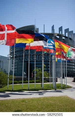 Flags of the EU - stock photo