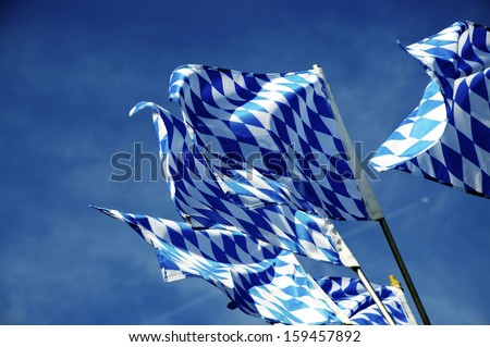 Flags of the Land Bavaria in the southern Germany - stock photo