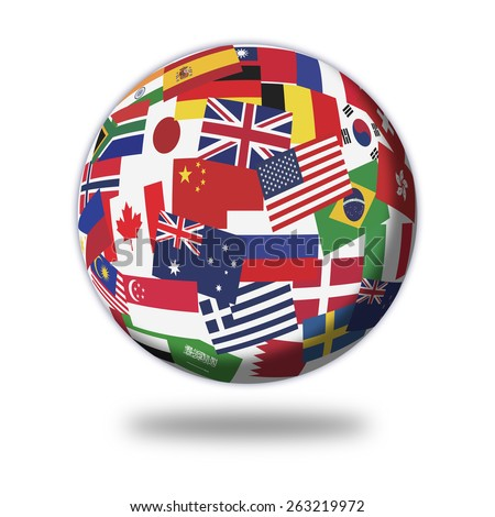 Flags of the main country in the world - stock photo