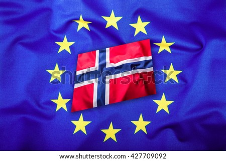 Flags of the Norway and the European Union. Norway Flag and EU Flag. Flag inside stars. World flag concept. - stock photo