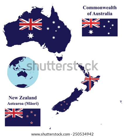Flags of the Oceania countries of the Commonwealth of Australia and New Zealand overlaid on detailed maps isolated on white background  - stock photo