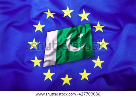 Flags of the Pakistan and the European Union. Pakistan Flag and EU Flag. Flag inside stars. World flag concept. - stock photo
