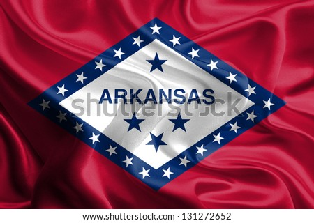 Flags of the U.S. states: Waving Fabric Flag of Arkansas - stock photo