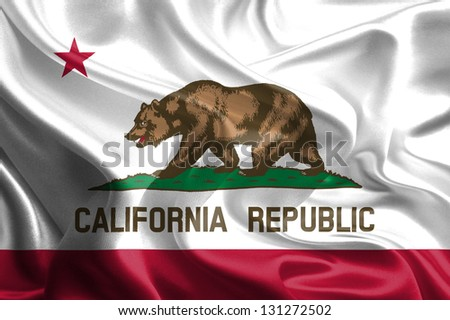 Flags of the U.S. states: Waving Fabric Flag of California - stock photo