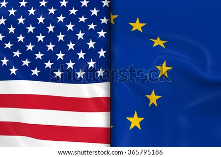Flags of the USA and the European Union Split Down the Middle - 3D Render of the United States Flag and EU Flag with Silky Texture
