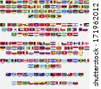 Flags of the world, all sovereign states recognized by UN, collection, listed alphabetically by continents, raster copy - stock photo