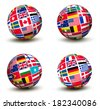 Flags of the world in globe. Raster version. - stock vector