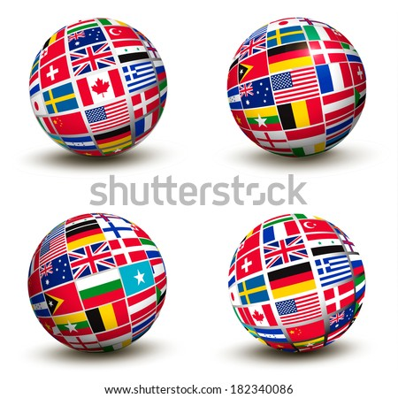Flags of the world in globe. Raster version. - stock photo