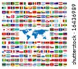 Flags of the world sorted alphabetically with official colors and details - stock photo