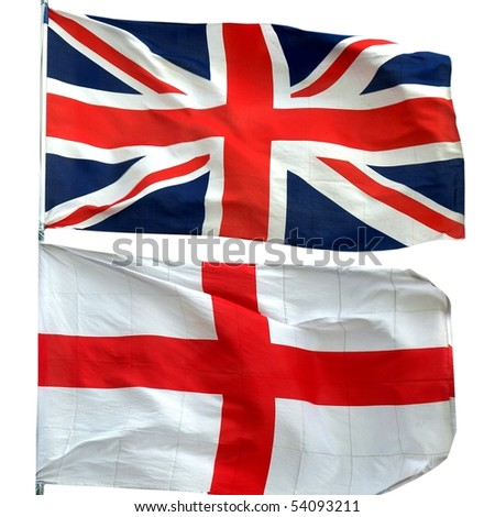 Flags of UK and Englan - isolated over white background - stock photo