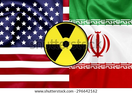 Flags of United States and Iran with Nuclear icon - stock photo