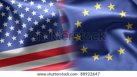 Flags of USA and Europe - stock photo