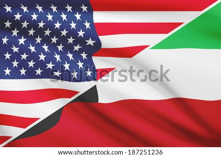 Flags of USA and State of Kuwait blowing in the wind. Part of a series. - stock photo