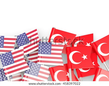 Flags of USA and Turkey   isolated on white. 3D illustration