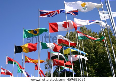 flags on flagpoles