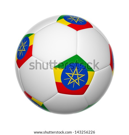 Flags on soccer ball of Ethiopia - stock photo