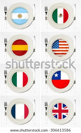 Flags plate - stock photo