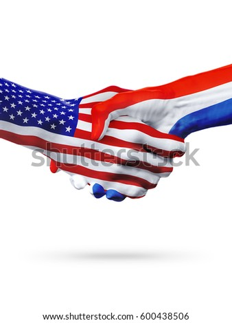Flags United States and Croatia countries, handshake cooperation, partnership and friendship or sports competition isolated on white