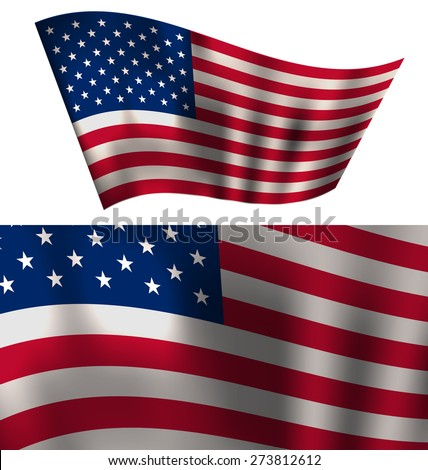 Flags USA Waving Wind Red White Blue Stars and Stripes for Independence Day 4th of July President Day Washington Day US Labor Day Patriotic Symbolic for Holiday or Celebration Backgrounds - raster - stock photo