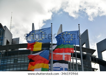 Flags with European Parliament in background Strasbourg, France. - stock photo