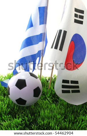 Flags with leather ball on a white background