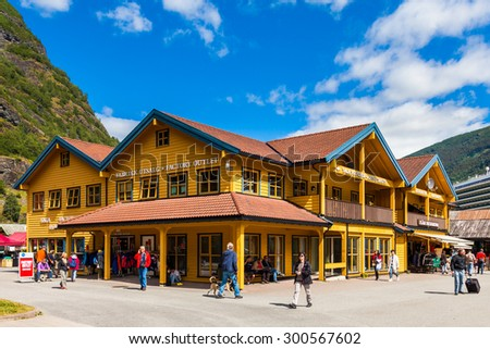 FLAM, NORWAY - JULY 10: The downtown area in Flam, one of the most popular Norwegian tourist destinations, located on the famous Sognefjord, on July 10 in Flam, Norway. - stock photo