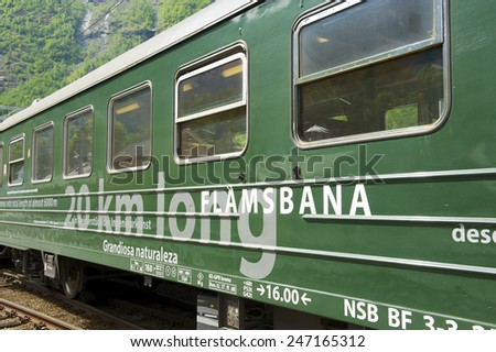 FLAM, NORWAY - JUNE 07, 2010: Exterior of the Flamsbana train on June 07, 2010 in Flam, Norway. Flamsbana is a spectacular train route with panoramic views of the Norwegian nature and fjords. - stock photo