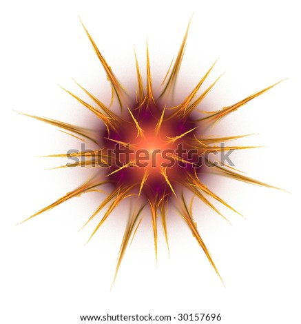 Flame based fractal in shape of a prickly type star - stock photo