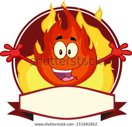 Flame Cartoon Mascot Label. Raster Illustration  - stock photo