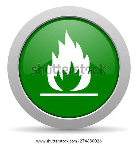 flame green glossy web icon  - stock photo