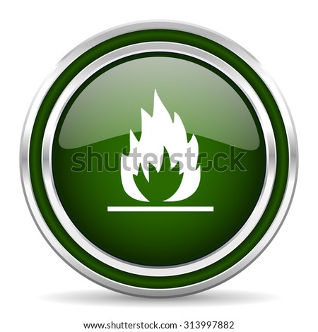 flame green glossy web icon modern design with double metallic silver border on white background with shadow for web and mobile app round internet original button for business usage  - stock photo