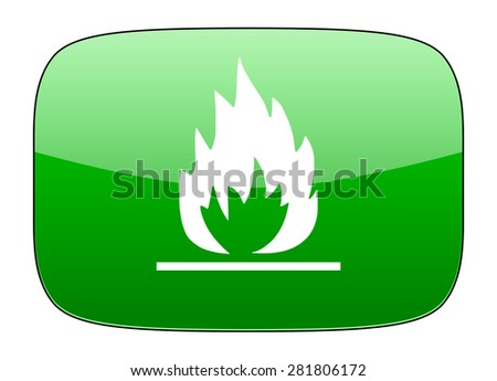 flame green icon   - stock photo