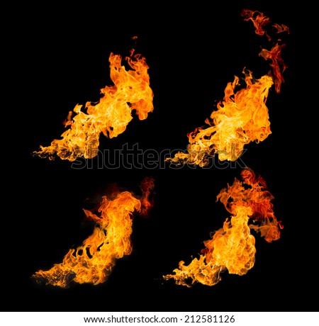 flame isolated on black background - stock photo