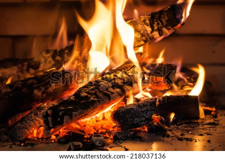 Flame of Fire from Firewood in Fireplace, on a brickwall background - stock photo