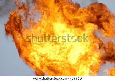 Flame off of a flare tower on an offshore oil rig