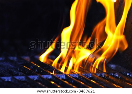 Flame on a cooking grill - stock photo