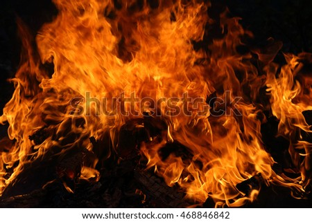 Flame texture as background. Stormy burning firewood in the dark.