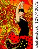 Flamenco dancer. Abstract illustration. Raster version. - stock photo