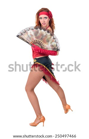 Flamenco dancer woman posing , isolated on white in full length