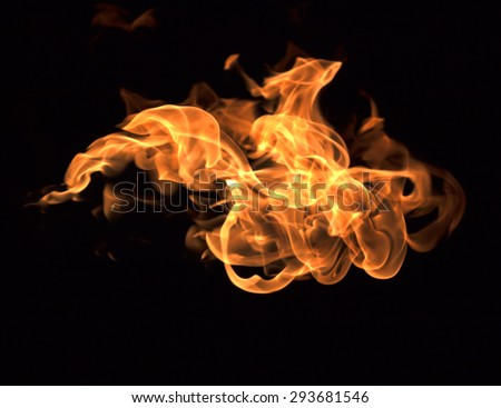Flames black background - stock photo